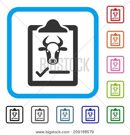 Cattle Contract icon. Flat gray iconic symbol inside a light blue rounded squared frame. Black, gray, green, blue, red, orange color additional versions of Cattle Contract vector.