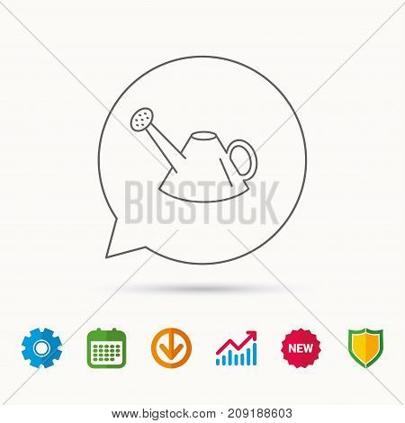 Watering can icon. Gardener equipment sign symbol. Calendar, Graph chart and Cogwheel signs. Download and Shield web icons. Vector