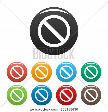 Prohibition sign or no sign icons set. Vector simple set of prohibition sign vector icons in different colors isolated on white