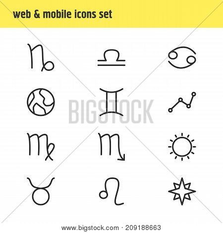 Editable Pack Of Lion, Bull, Virgin And Other Elements.  Vector Illustration Of 12 Galaxy Icons.