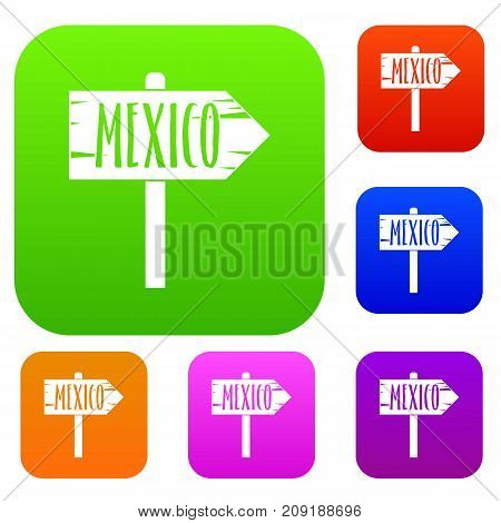 Mexico wooden direction arrow sign set icon color in flat style isolated on white. Collection sings vector illustration