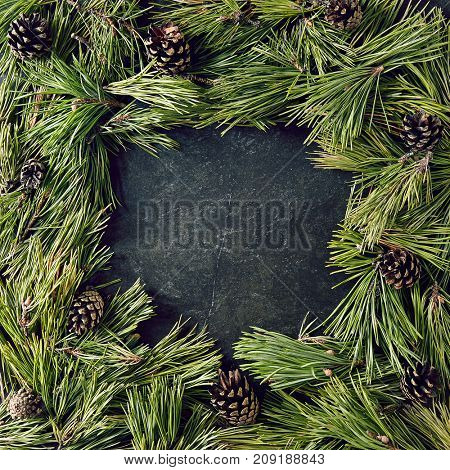 Creative background of pine branch and cones on black slate. New Year and Merry Christmas Concept. Flat Lay