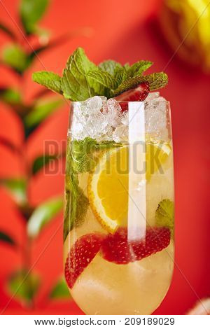 Summer Drink - White Sparkling Sangria. Sangria Drink with Orange, Strawberry and Mint on Bright Red Background. Leaves and Flower on Background