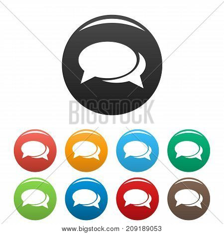 Speech bubbles icons set. Vector simple set of speech bubbles vector icons in different colors isolated on white
