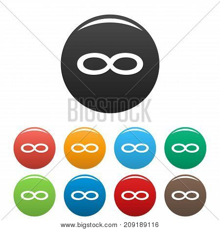 Infinity symbol icons set. Vector simple set of infinity symbol vector icons in different colors isolated on white
