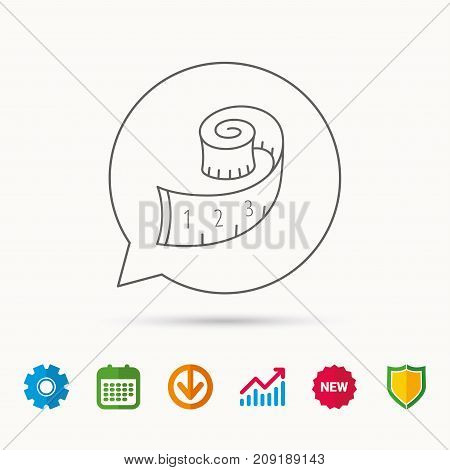 Measuring tape icon. Weight loss sign. Calendar, Graph chart and Cogwheel signs. Download and Shield web icons. Vector