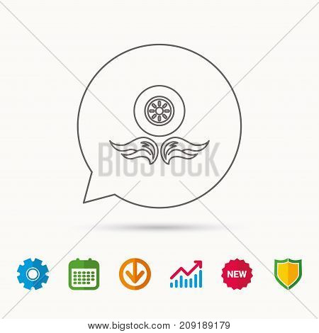 Car wheel icon. Fire flame symbol. Calendar, Graph chart and Cogwheel signs. Download and Shield web icons. Vector