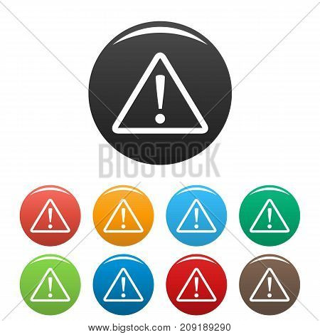 Warning sign icons set. Vector simple set of warning sign vector icons in different colors isolated on white