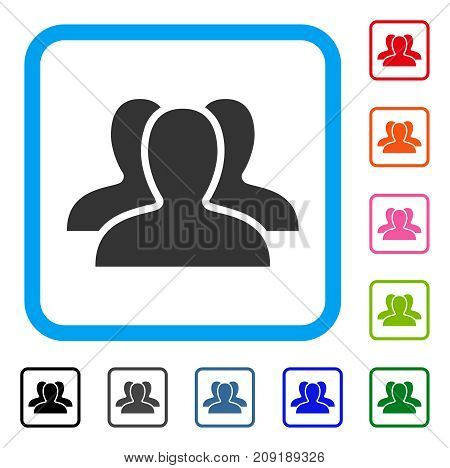 Client Group icon. Flat gray pictogram symbol inside a light blue rounded rectangle. Black, gray, green, blue, red, orange color versions of Client Group vector.