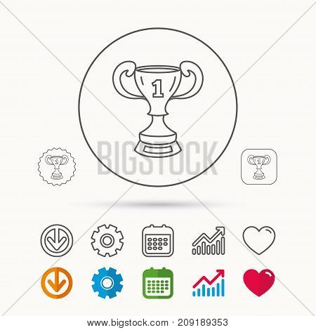 Winner cup icon. First place award sign. Victory achievement symbol. Calendar, Graph chart and Cogwheel signs. Download and Heart love linear web icons. Vector