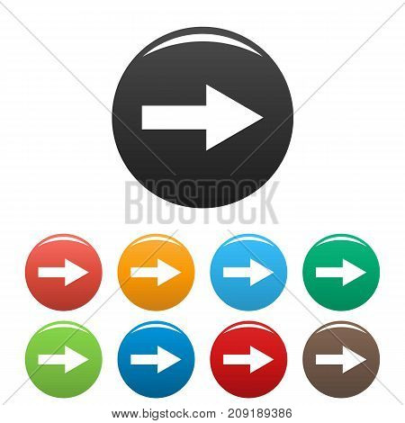 Arrow icons set. Vector simple set of arrow vector icons in different colors isolated on white