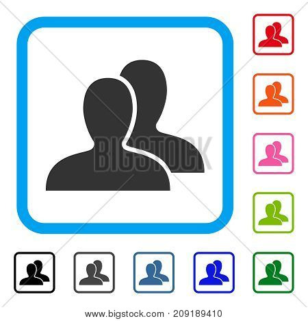 Clients icon. Flat grey pictogram symbol inside a light blue rounded frame. Black, gray, green, blue, red, orange color additional versions of Clients vector.