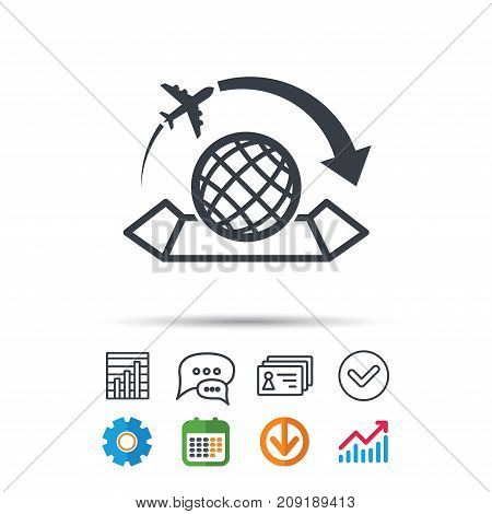 World map icon. Globe with arrow sign. Plane travel symbol. Statistics chart, chat speech bubble and contacts signs. Check web icon. Vector