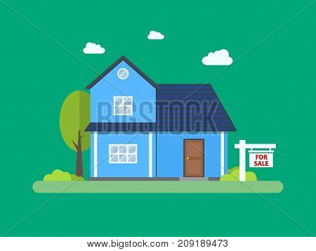 House for sale. Home and sign in the foreground. Estate agency. Vector flat design illustration.