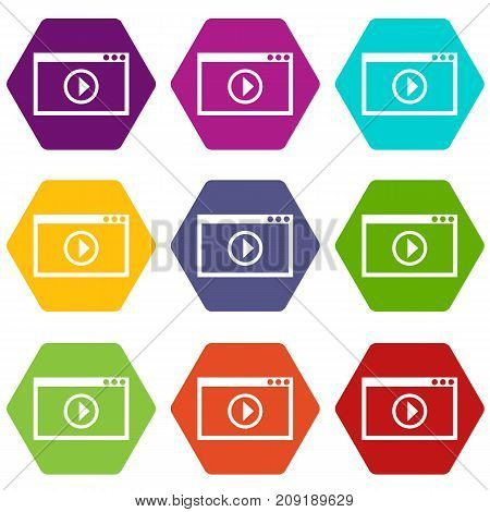 Program for video playback icon set many color hexahedron isolated on white vector illustration