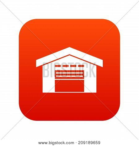 Warehouse icon digital red for any design isolated on white vector illustration