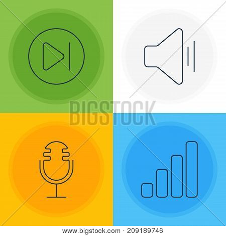 Editable Pack Of Mike, Subsequent, Audio And Other Elements.  Vector Illustration Of 4 Melody Icons.