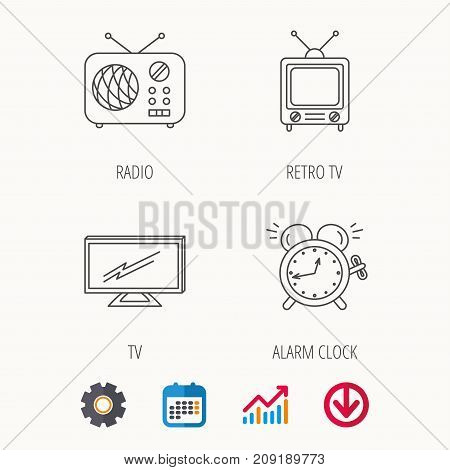 TV, retro radio and alarm clock icons. Widescreen TV linear sign. Calendar, Graph chart and Cogwheel signs. Download colored web icon. Vector