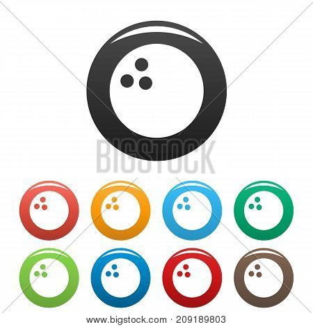 Bowling icons set. Vector simple set of bowling vector icons in different colors isolated on white