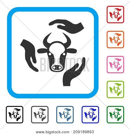 Cow Care Hands icon. Flat grey iconic symbol inside a light blue rounded squared frame. Black, gray, green, blue, red, orange color variants of Cow Care Hands vector.