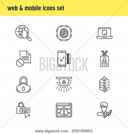 Editable Pack Of Encoder, Camera, Data Security And Other Elements.  Vector Illustration Of 12 Privacy Icons.