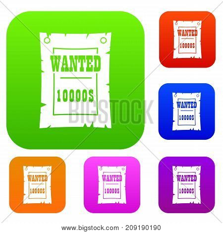 Vintage wanted poster set icon color in flat style isolated on white. Collection sings vector illustration