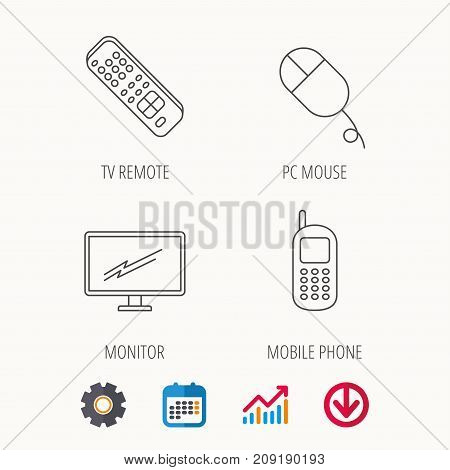 TV remote, PC mouse and mobile phone icons. Monitor TV linear sign. Calendar, Graph chart and Cogwheel signs. Download colored web icon. Vector