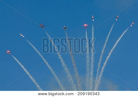 Boise Idaho USA - October 15 2017. Canadian Forces Snowbirds performing at the Gowen Thunder airshow on October 15, 2017.
