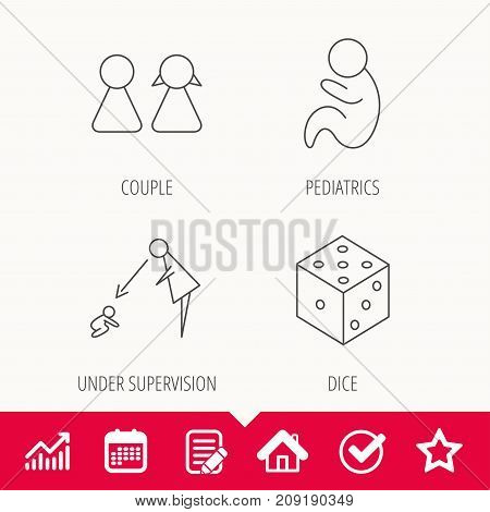 Couple, paediatrics and dice icons. Under supervision linear sign. Edit document, Calendar and Graph chart signs. Star, Check and House web icons. Vector