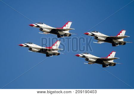 Boise Idaho USA - October 15 2017. United States Air Force Thunderbirds performing at the Gowen Thunder airshow on October 15, 2017.