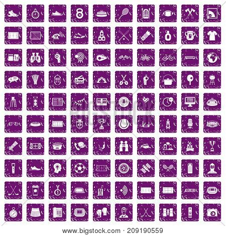 100 sport journalist icons set in grunge style purple color isolated on white background vector illustration