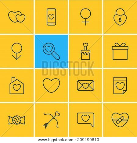 Editable Pack Of Invitation, Present, Woman And Other Elements.  Vector Illustration Of 16 Amour Icons.