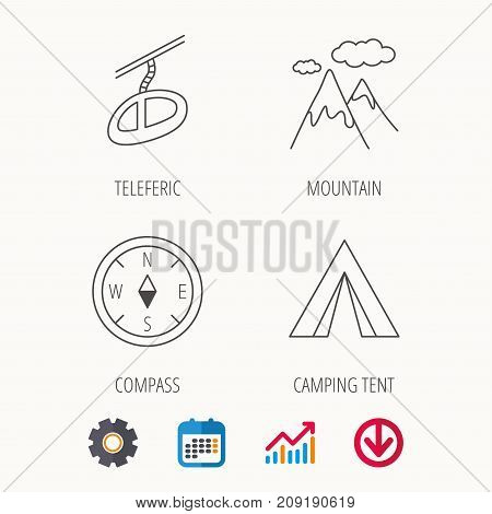 Mountain and teleferic icons. Compass linear sign. Calendar, Graph chart and Cogwheel signs. Download colored web icon. Vector