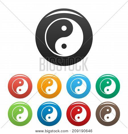 Ying yang symbol of harmony and balance icons set. Vector simple set of ying yang vector icons in different colors isolated on white
