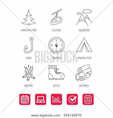 Mountain, fishing hook and hiking boots icons. Compass, backpack and bonfire linear signs. Camping tent, teleferic and christmas tree icons. Report document, Graph chart and Calendar signs. Vector
