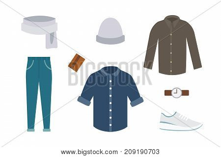 Collection of various wear and shoes for cold season. Mens autumn look. Clothing in flat style design.