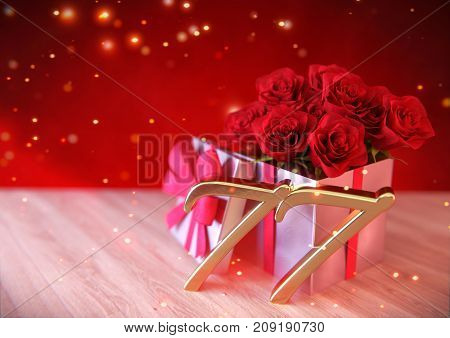 birthday concept with red roses in gift on wooden desk. 3D render - seventy-seventh birthday. 77th