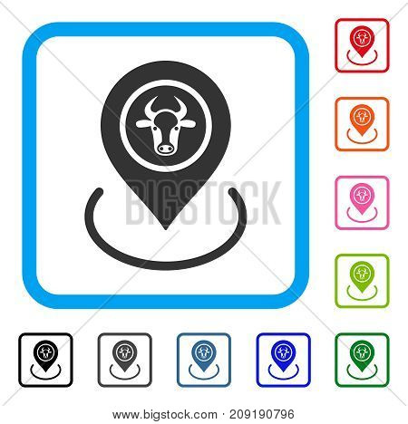 Cow Location icon. Flat grey pictogram symbol inside a light blue rounded rectangle. Black, gray, green, blue, red, orange color versions of Cow Location vector.