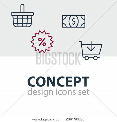 Editable Pack Of Buy, Pottle, Coins And Other Elements.  Vector Illustration Of 4 Commerce Icons.