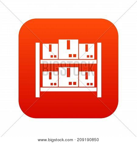 Storage of goods in warehouse icon digital red for any design isolated on white vector illustration