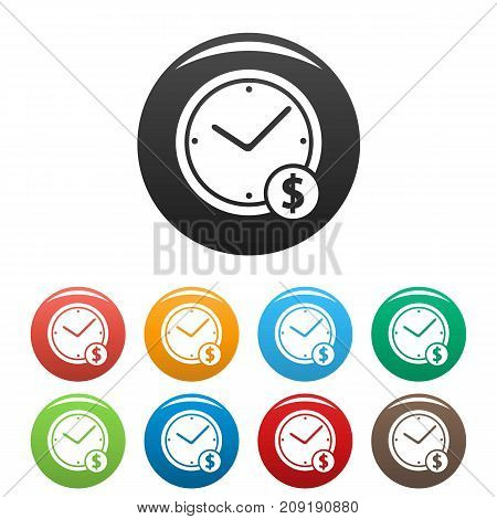 Clock money icons set. Simple illustration of clock money vector icons isolated on white background
