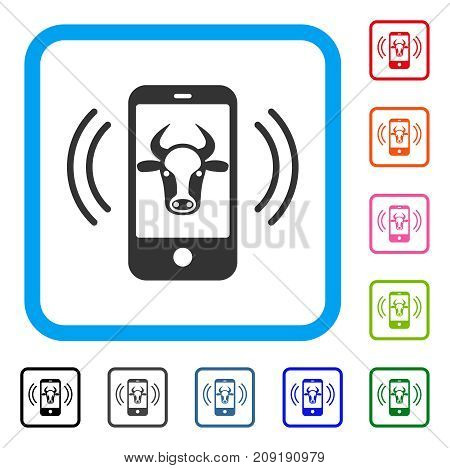 Cow Mobile Control icon. Flat gray pictogram symbol inside a light blue rounded rectangular frame. Black, gray, green, blue, red, orange color additional versions of Cow Mobile Control vector.