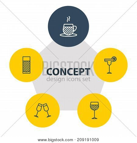 Editable Pack Of Aqua, Beverage, Tea Cup And Other Elements.  Vector Illustration Of 5 Beverage Icons.