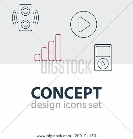 Editable Pack Of Mp3, Acoustic, Amplifier And Other Elements.  Vector Illustration Of 4 Melody Icons.