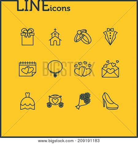 Editable Pack Of Present, Calendar, Wedding Gown And Other Elements.  Vector Illustration Of 12 Wedding Icons.