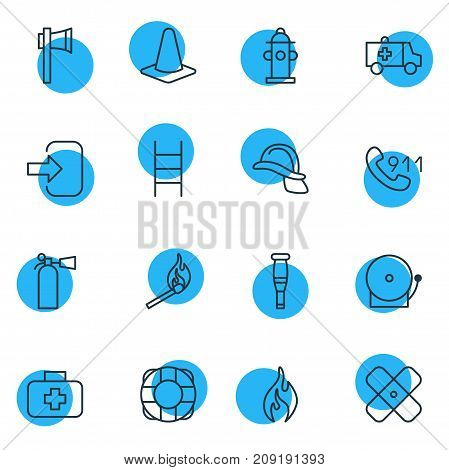 Editable Pack Of Door, Adhesive, Fire And Other Elements.  Vector Illustration Of 16 Emergency Icons.