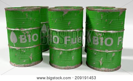 dirty worn scratched green bio diesel barrels isolated on white