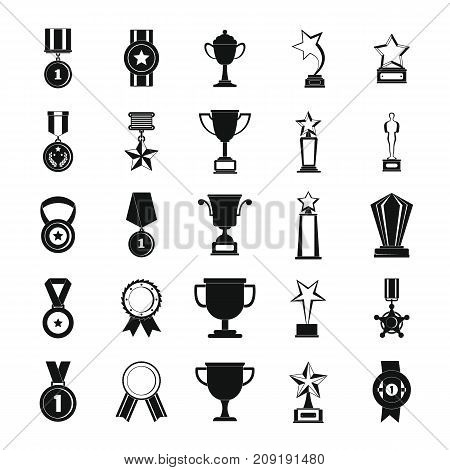 Medal award icon set. Simple illustration of 25 medal award vector icons for web