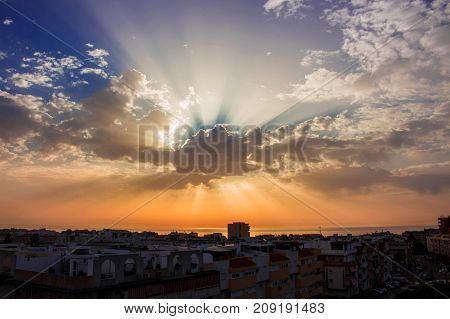 Dawn. Beautiful morning sky, clouds and sunlight. Costa del Sol, Andalusia, Spain.