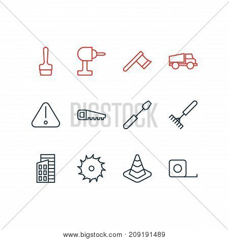 Editable Pack Of Hacksaw, Measure Tape, Harrow And Other Elements.  Vector Illustration Of 12 Industry Icons.